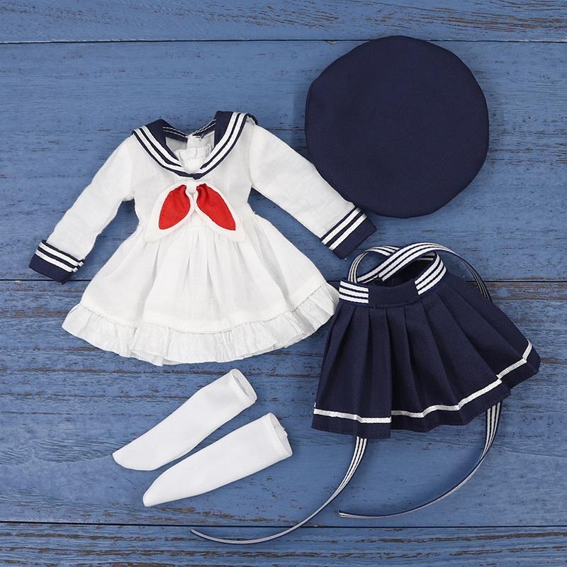 DBS Debisheng Cute Little Angel Clothes Simple Sailor Suit Suit Hat SuitBJD6The Doll's Clothes