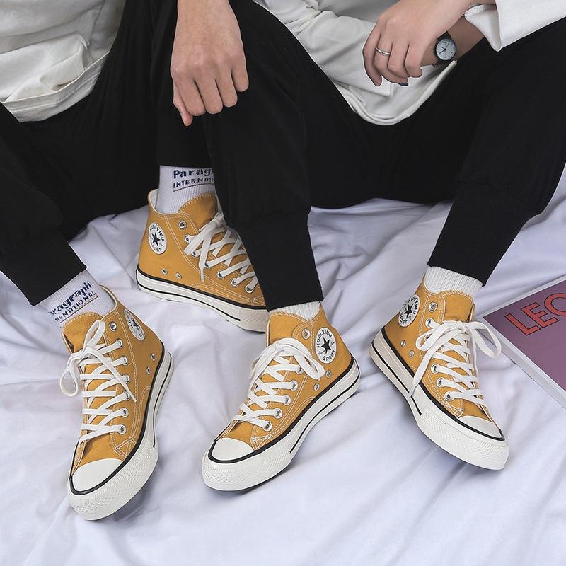 Giày vải canvas cổ cao thời trang phong cách cho các cặp đôi