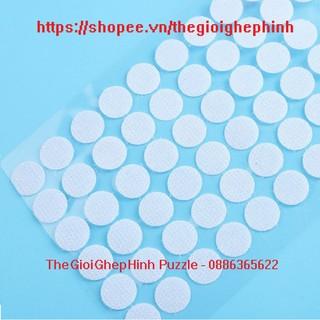 Set 100 cặp nhám gai/ khóa nhám/ băng dính gai/ verclo / có keo dán – loại trắng tròn 12mm