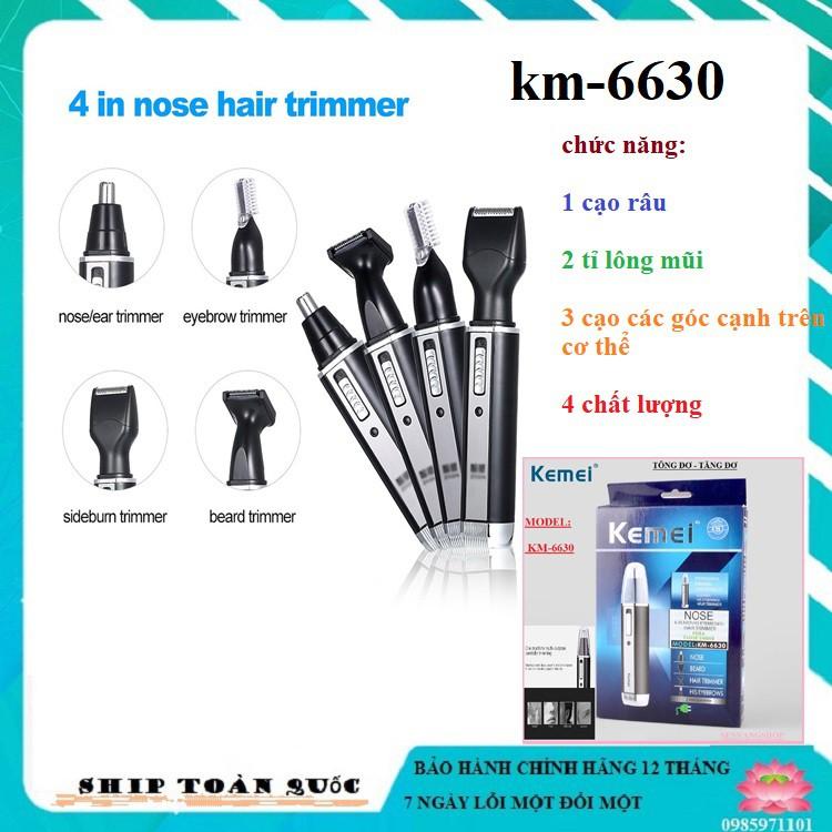 Máy cạo râu mũi và tai/ Tông đơ cắt tóc km-6630/ thể sạc điện chuyên nghiệp 4 trong 1