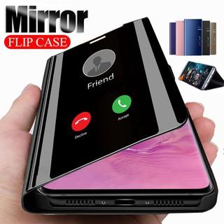 Bao da điện thoại nắp lật tráng gương thông minh sang trọng cho SAMSUNG GALAXY S8 S9 S10 PLUS S20 ULTRA NOTE 9 10
