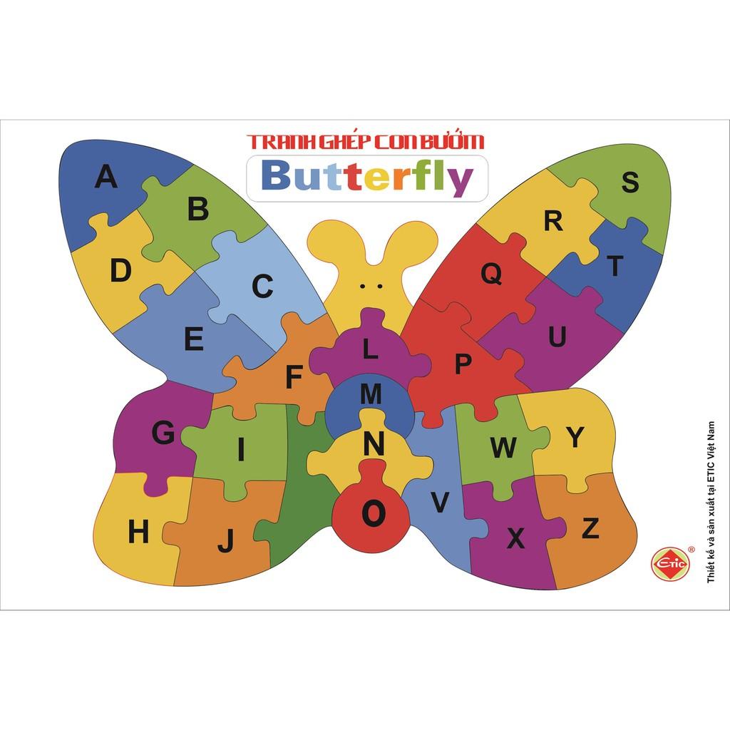 Tranh ghép con vật, học chữ cái và số hình con bướm