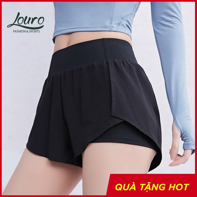 Quần tập gym nữ cạp cao Louro QL35, kiểu quần short nữ tập yoga, gym, zumba, thông thoáng, co giãn 4 chiều