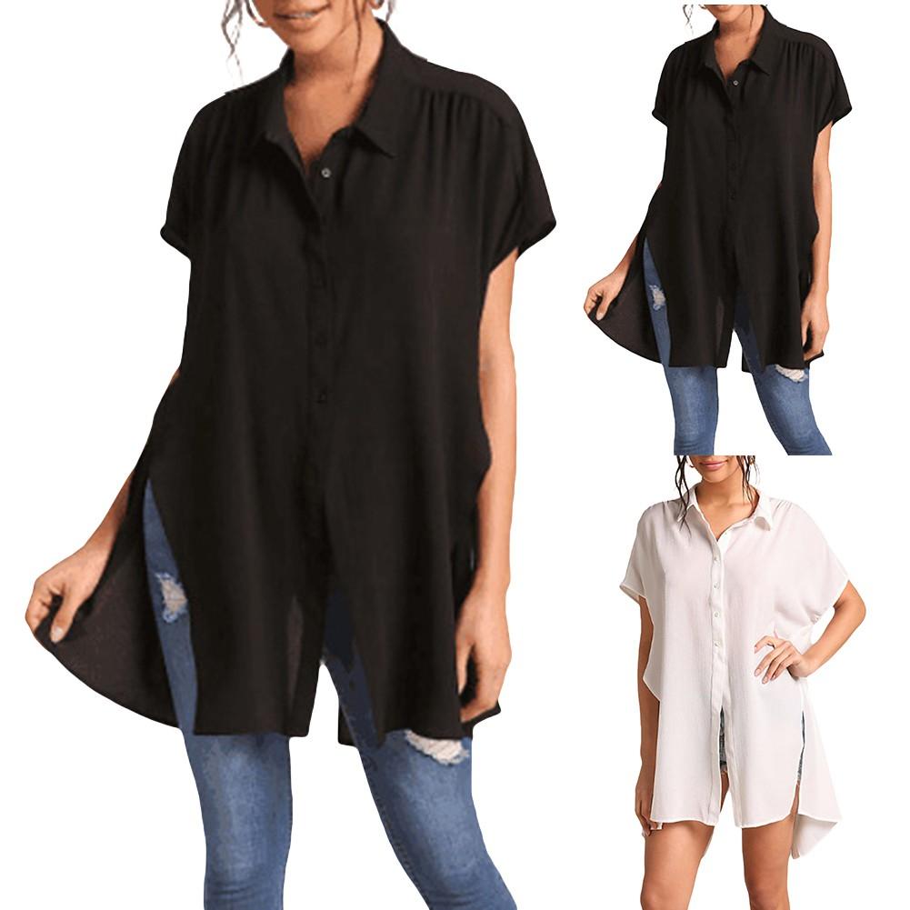 【kem chống nắng】Summer Women Solid Color Tunic Top Turn Down Collar Short Sleeve Split Shirt