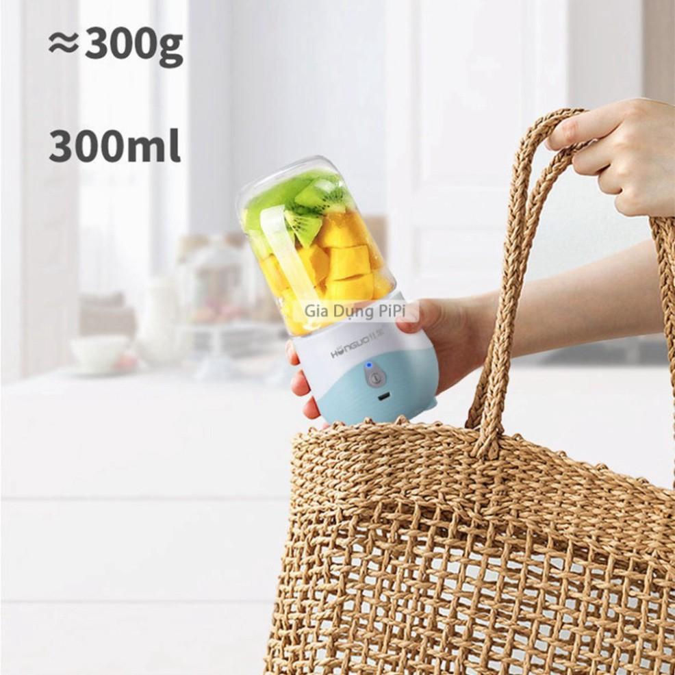 (4 lưỡi)Máy xay sinh tố cầm tay mini sạc pin, Máy say sinh tố cầm tay đa năng mini 300ml Honguo