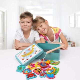 Baby Educational Toys Iron Box Fishing Wooden Game Set Kids Gifts
