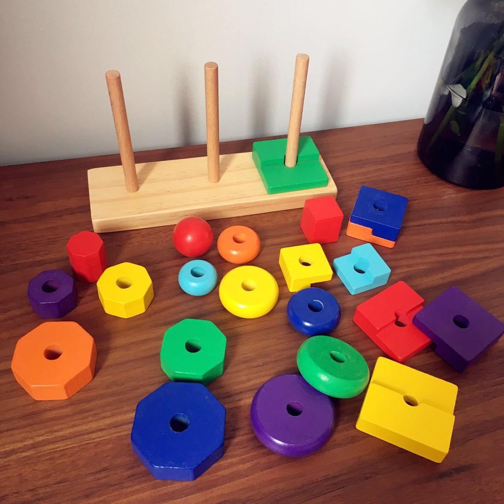 Đồ chơi trẻ em thông minh - Thả hình khối ba trụ Montessori (Size nhỏ).