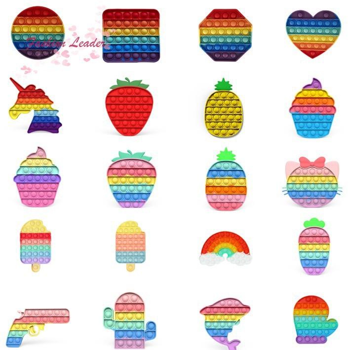[Giao hàng nhanh] Foxmind Push Pop It Fidget Toy Rainbow Color Finger Pressure Bubble SensoryToys