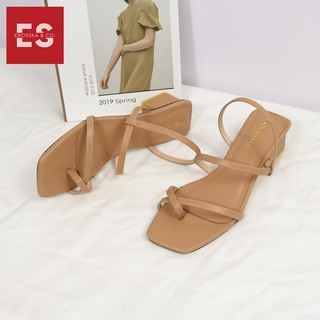 Hình ảnh Sandal nữ xỏ ngón dây mảnh thời trang Erosska cao 5cm màu kem_EB024-8