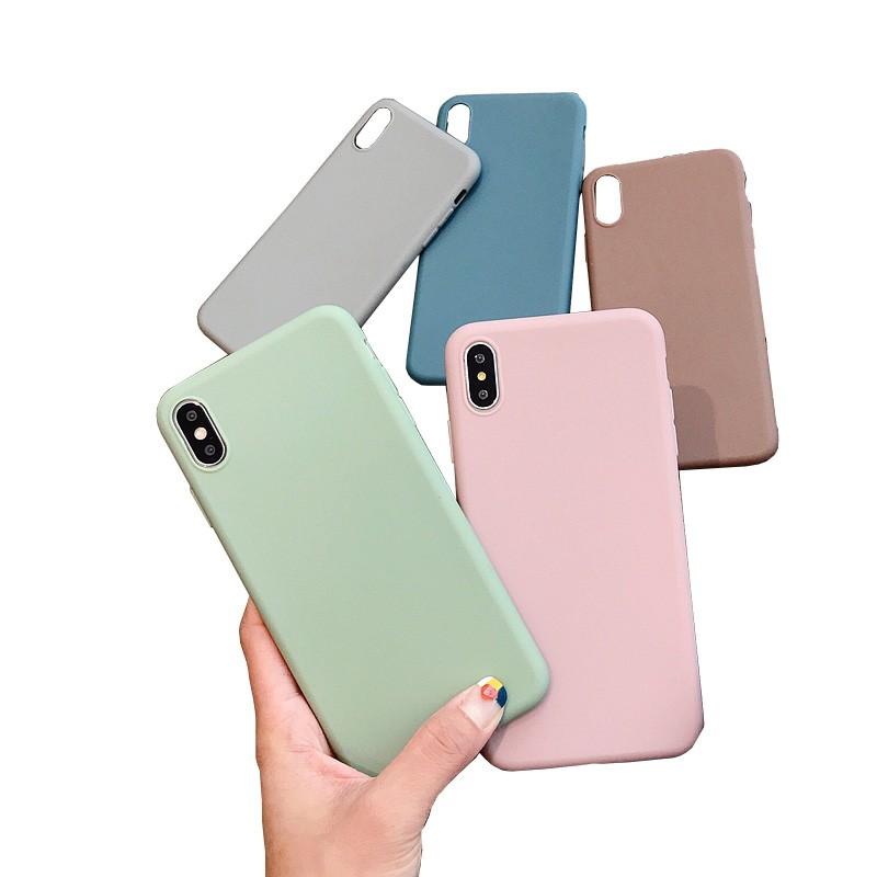Ốp điện thoại TPU màu trơn cho iPhone 6/6s 6p/6sp 7/8 7p/8p X XS 11 Pro Max H231