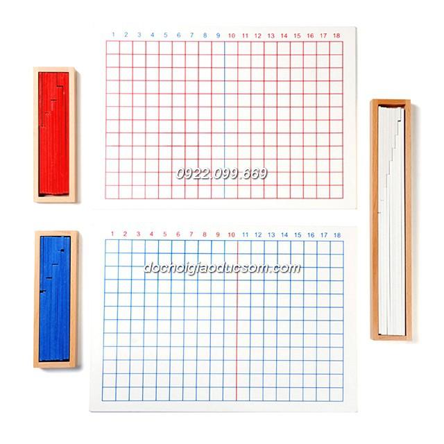 Bộ cộng trừ 2 bảng to - Giáo cụ Montessori