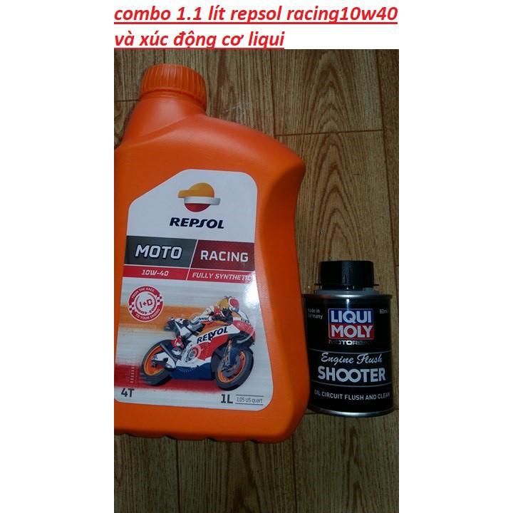 (TẶNG CHAI XỊT SÊN 400ML THUNDER) combo repsol racing 10w40 1.1 lít và xúc rửa động cơ liqui moly
