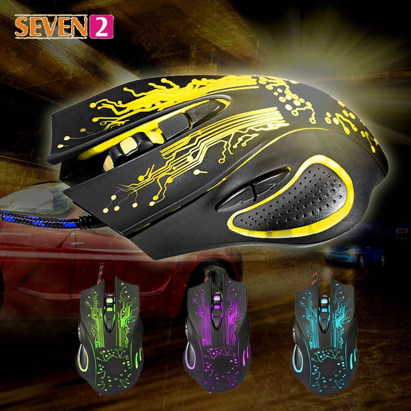 USB Wired Mouse Colorful Optical Mice Gaming Polychromatic LED