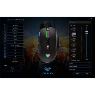 Chuột Quang AULA H512 Wired Optical Gaming Mouse 12 Keys-10000 Dpi, Rgb Backlight – Top Seller