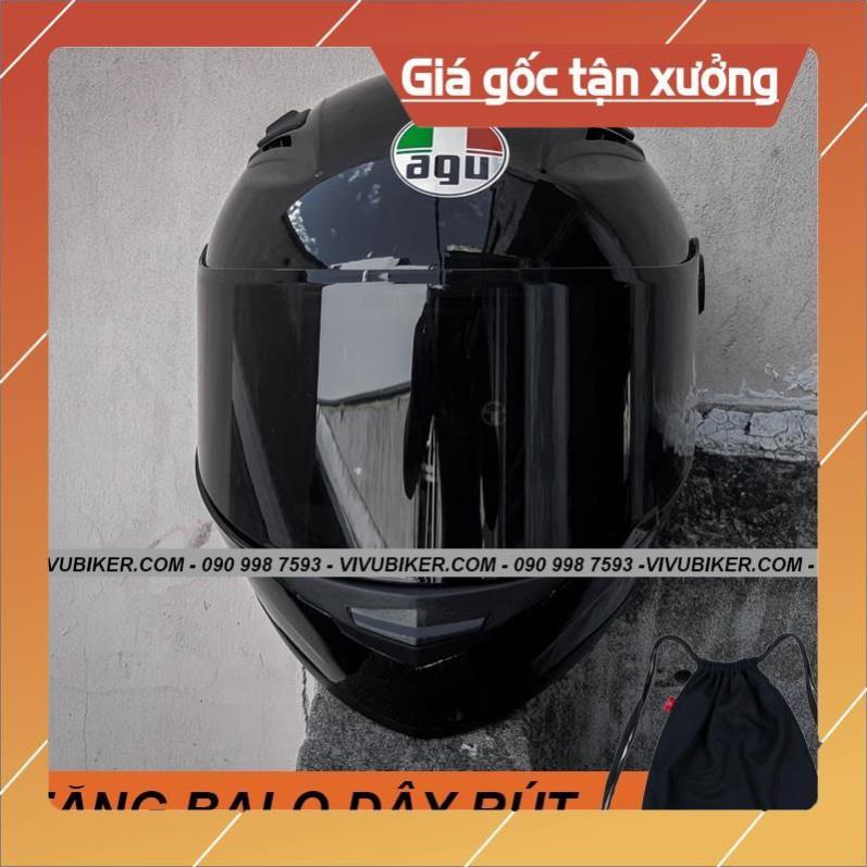 [Giống ảnh] Mũ Fullface AGU đen bóng tặng kèm balo dây rút - Mũ bảo hiểm Fullface AGU đen bóng kính đen siêu ngầu