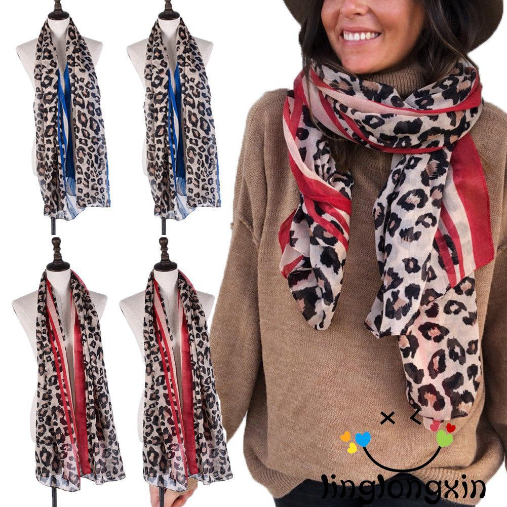 ♛✐✽Fashion Womens Long Neck Large Scarf Wrap Shawl Leopard Scarves