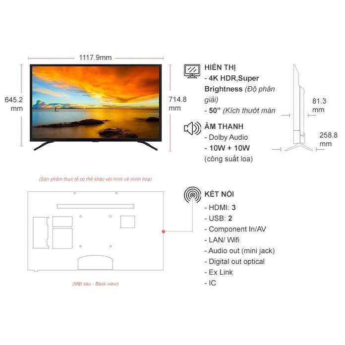 Thông số kỹ thuật Smart Tivi Casper 4K 50 inch 50UG5000
