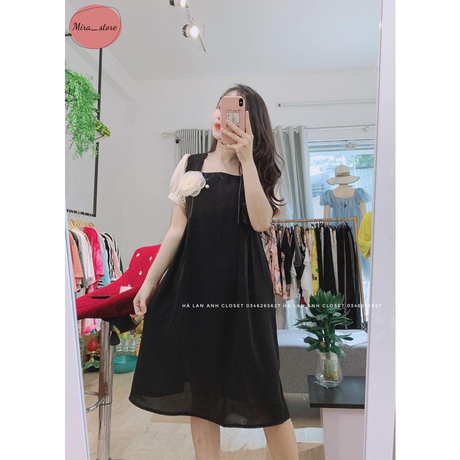 Mặc gì đẹp: Dễ chịu với Váy Bầu [FREESHIP] Đầm Bầu Dáng Suông Váy Bầu Hoa Cài Ngực freesize từ 45-75kg
