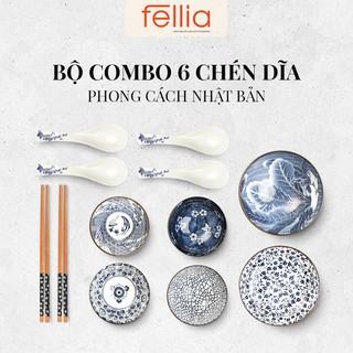 Combo 2 bộ chén sứ (bát), đĩa sứ cao cấp, đũa Fellia phong cách Nhật Bản