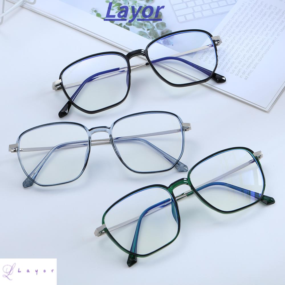 💜LAYOR💜 Retro Office Computer Goggles Vision Care Gaming Eyeglasses Blue Light Blocking Glasses Anti Eyestrain Square Frame Unisex Eyewear Radiation Protection Safety Goggles