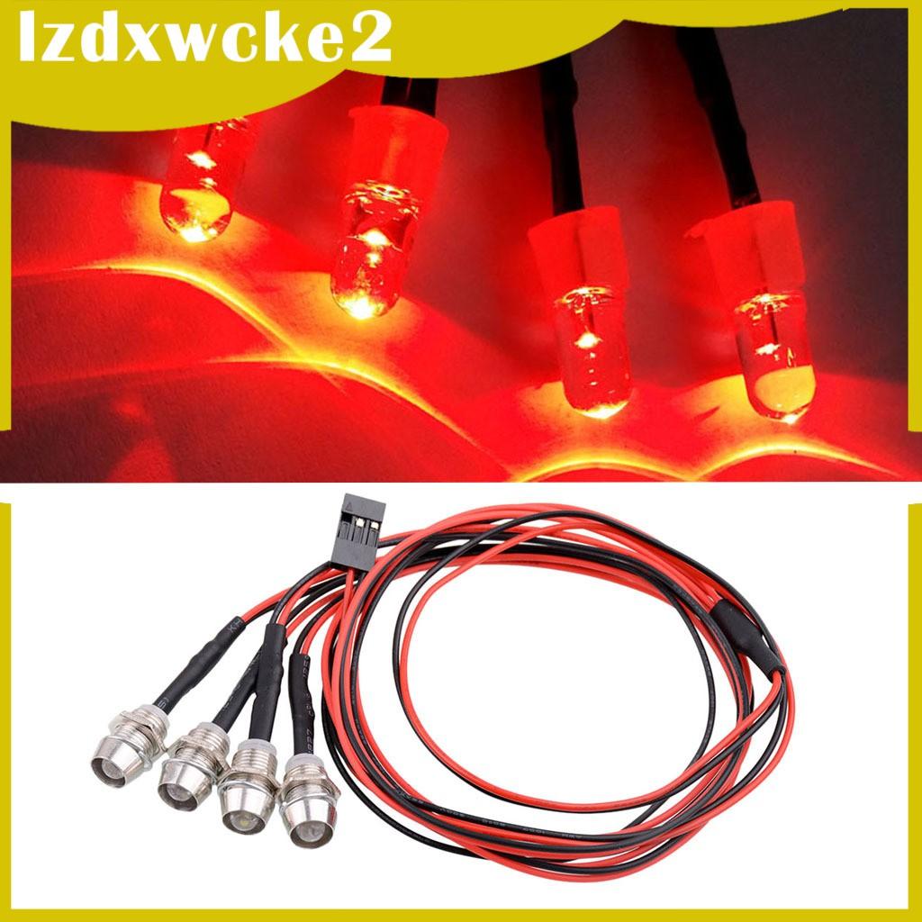 GamZine 4 Red LED Light Headlight Kit for 1/5 1/8 1/10 1/12 1/16 RC Car Truck Model