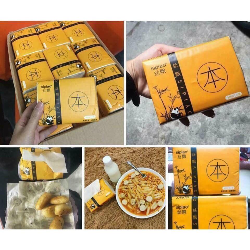 Combo 10 Gói giấy ăn sợi tre Sipiao không tẩy trắng