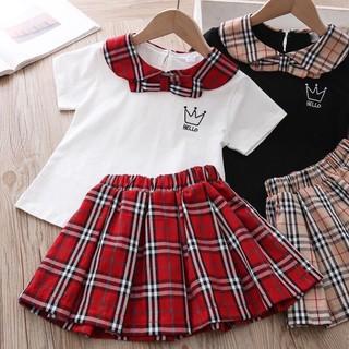 [ QUÀ CHO BÉ YÊU ]- Sét váy Học Sinh Cho Bé Chân Váy Kẻ Sếp ly
