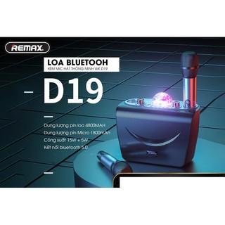 Loa bluetooth karaoke kèm 2 mic không dây sạc pin chính hãng WK D19 có quả cầu nháy cắm được usb và thẻ nhớ