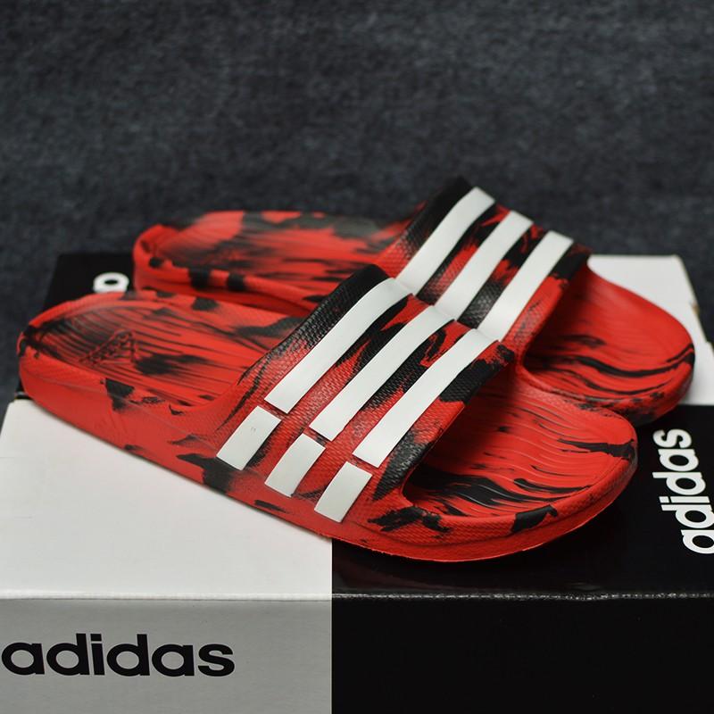 Dép Adidas Duramo Camo chính hãng đen đỏ sọc trắng