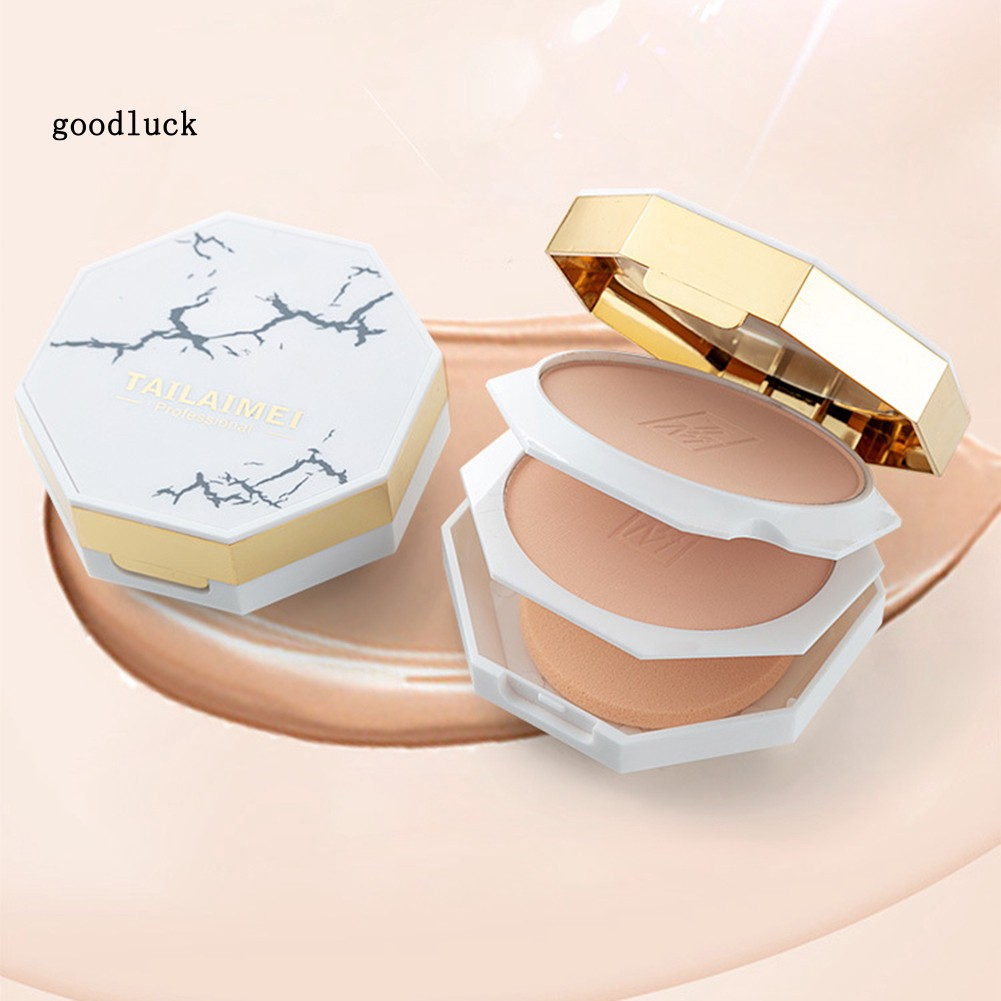GLK_Marble Print Dual Layer Brightening Pressed Powder Oil Control Facial Concealer