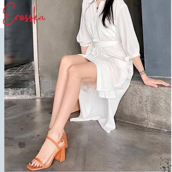 Hình ảnh Giày Sandal Nữ Thời Trang Erosska 5cm Mũi Vuông - EM019 - Màu Nude-6