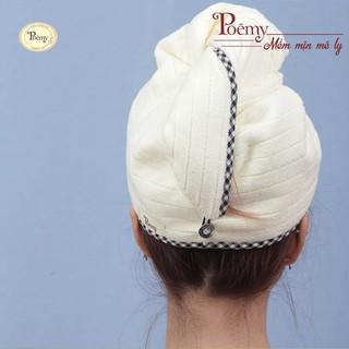 Hình ảnh Mũ quấn tóc POÊMY SỌC GÂN - Mũ quấn tóc Poêmy siêu tiện lợi, thấm hút khô nhanh-0