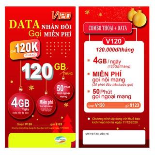 {FREE 30 NGÀY}Sim 4G Viettel gói V120 120GB/Tháng {4GB/Ngày} miễn phí gọi nội mạng