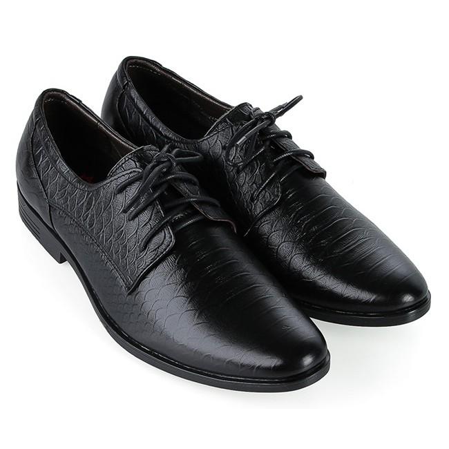 Giày tây nam Huy Hoàng da bò vân da trăn cột dây màu đen HP7798