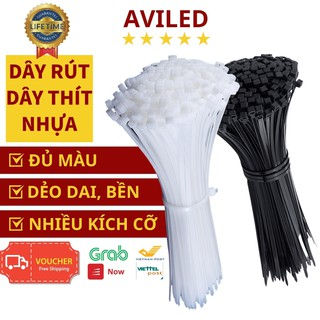 Dây thít nhựa đen, trắng, túi 100 cái dây rút nhựa 15cm 25cm 30cm lạt nhựa siêu bền, giá rẻ nhất AVILED