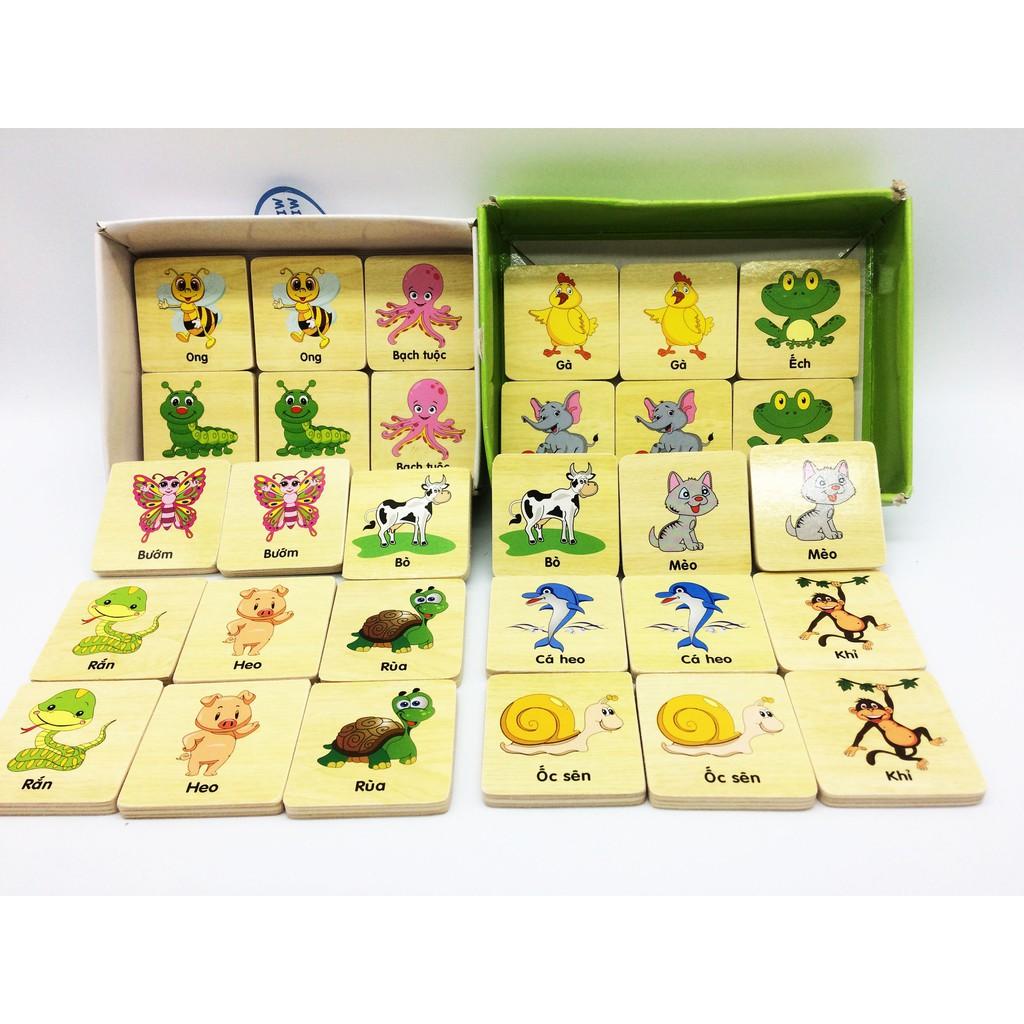 Đồ chơi gỗ cho bé - Tìm hình giống nhau luyện trí nhớ