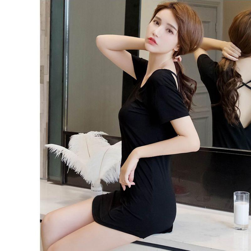 Váy ngủ form dài tay ngắn hở lưng quyến rũ dành cho nữ