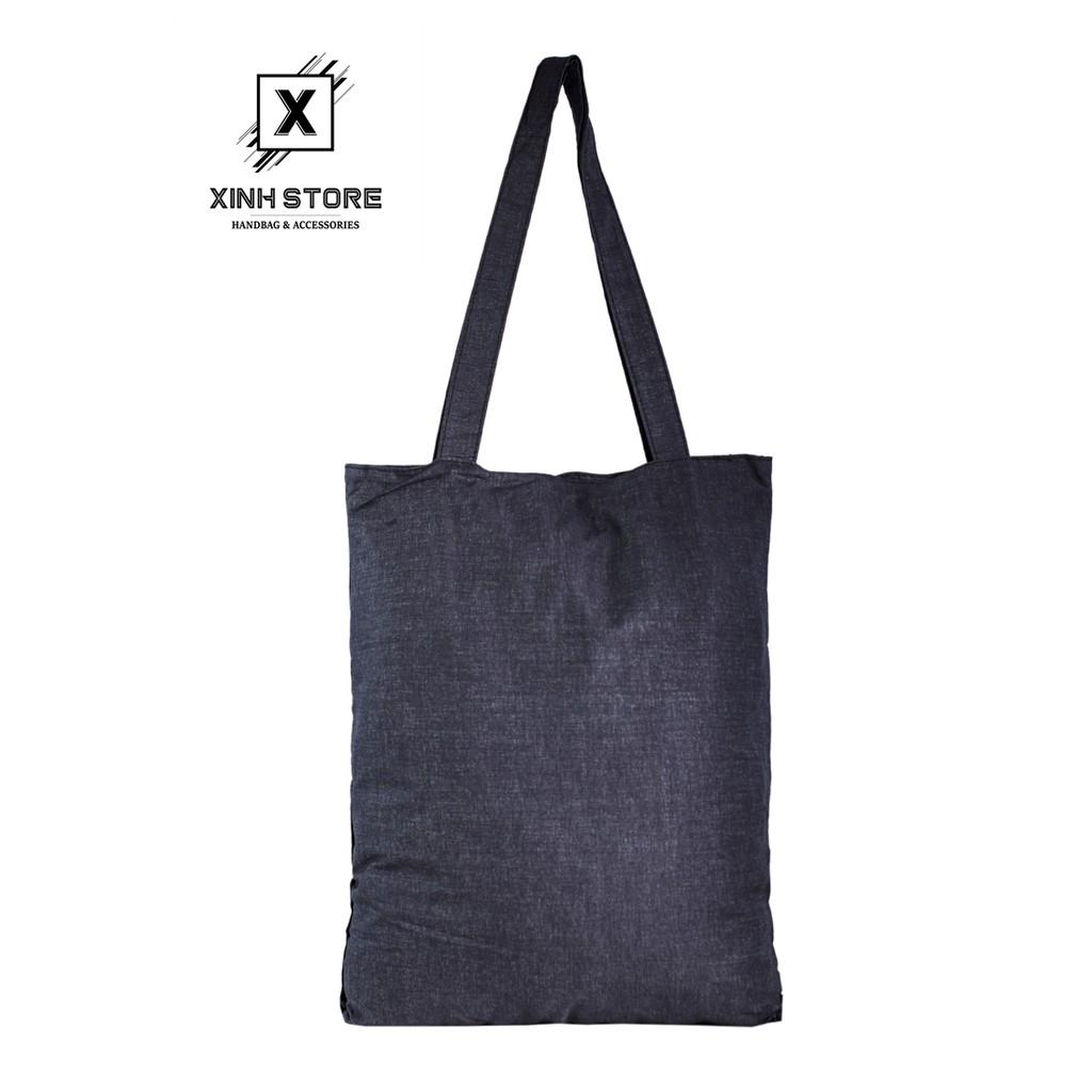 Túi Vải Đeo Vai Tote Bag Cỏ 4 Lá Đen XinhStore