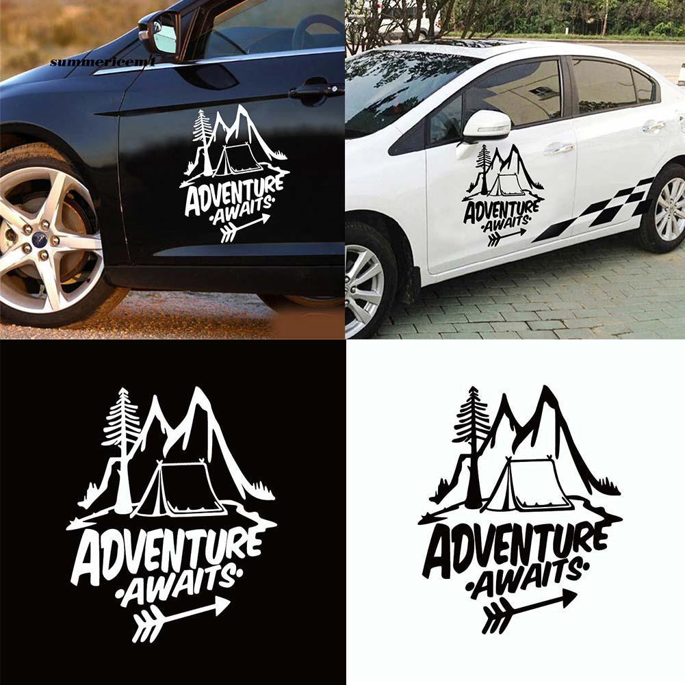【SUCM】Unique Adventure Awaits Reflective Sticker Pine Tree Mountain Decal Car Decor