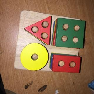Bộ hình học toán bằng gỗ