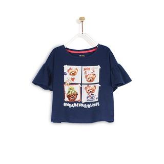 Áo Thun Bé Gái M.D.K Bear Ruffles Sleeves T-Shirt M.D.K