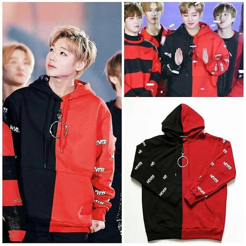 Áo Hoodie Đen đỏ Jihoon W1