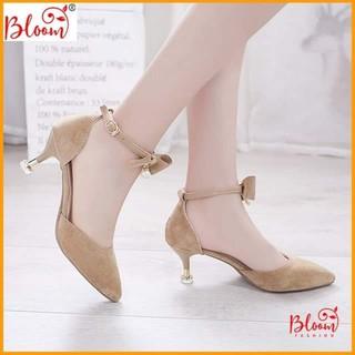 Giày cao gót nữ mũi nhọn 5cm bít mũi da lộn Giày cao gót 5p sandal cao gót chuẩn hàng VNXK BG023