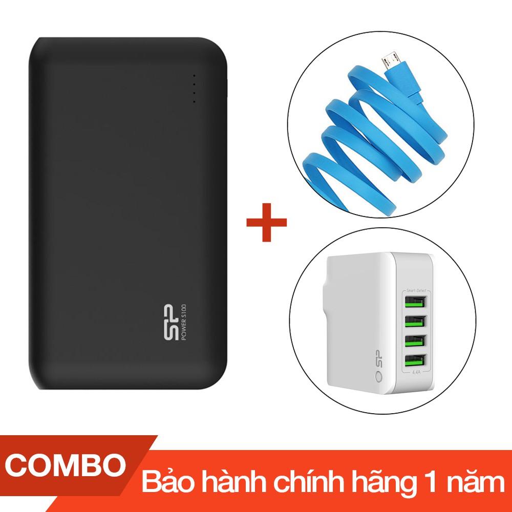 Pin sạc dự phòng 10000mAh S100 Silicon Power + Cáp sạc micro USB Romoss dài 1m + Cốc sạc 4 cổng USB