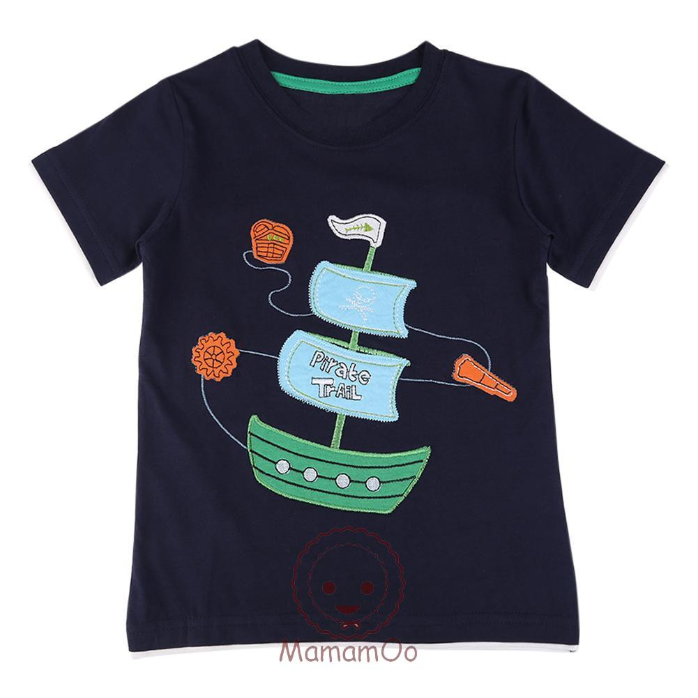 ♥Casual Boys Children Sailboat Print Short Sleeve T-shirt Cotton O-Neck Tops