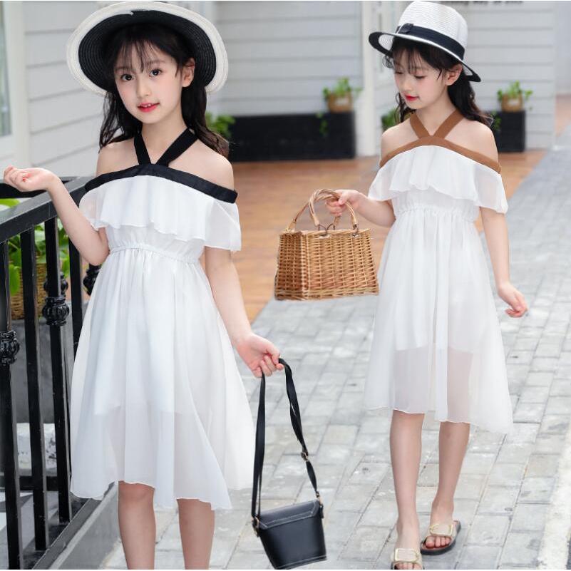 Váy bé gái trễ vai phong cách Hàn Quốc [17-40kg]
