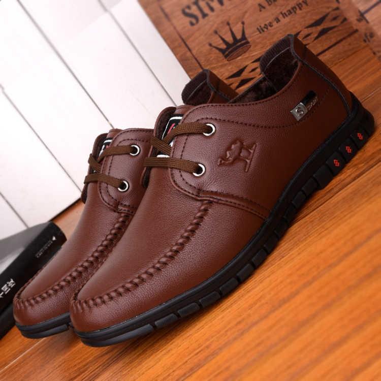 รองเท้า❐Leather shoes men's autumn breathable black dad 2019 casual business is fully equipped Korean version