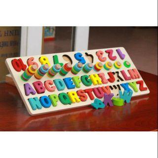 Bộ ghép chữ gỗ kết hợp 3 trong 1 chức năng Montessori