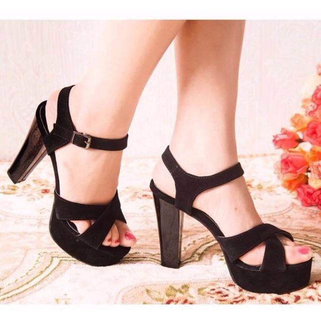 Giày cao gót đế vuông 12cm quai chéo