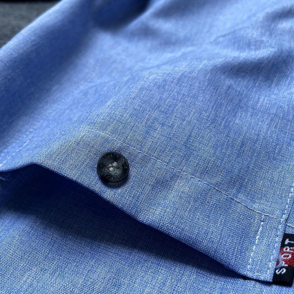 Áo sơ mi trung niên ngắn tay vải đũi mềm mát loại áo sơ mi nam tay ngắn form rộng thoải mái SMDOG60